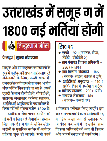 1800 Group C post to be filled soon in Uttarakhand