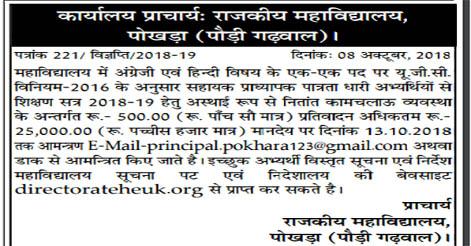 Assistant Professor Recruitment in Govt. PG College Pokhra, Pauri