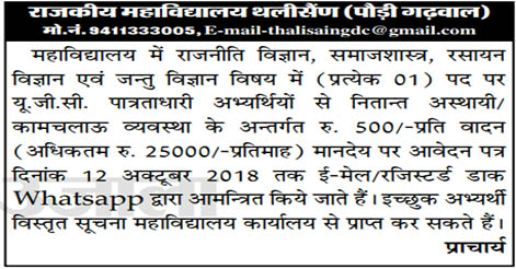 Assistant Professor Recruitment in Govt. PG College Thalisain, Pauri