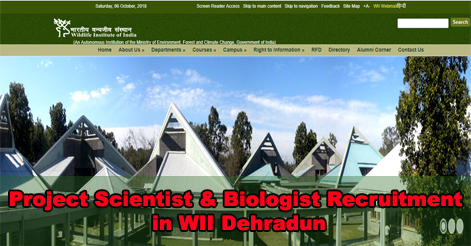 Project Scientist & Biologist Recruitment in WII Dehradun