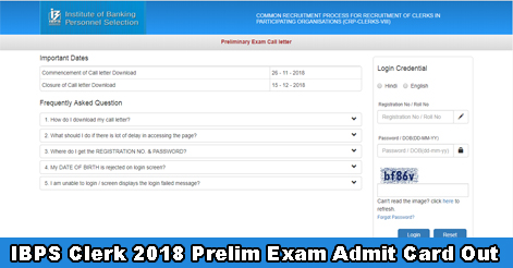 IBPS Clerk Prelim Exam 2018 Admit Card Out
