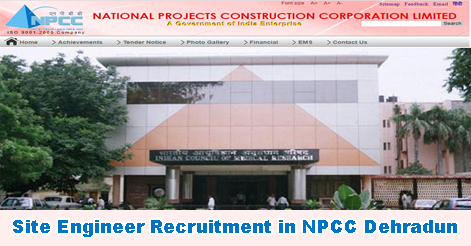Site Engineer Recruitment in NPCC Dehradun