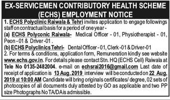 Multiple Posts Recruitment in ECHS Polyclinic Tehri & Raiwala
