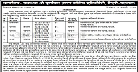 S.P. Inter College Munikireti Tehri Garhwal Recruitment