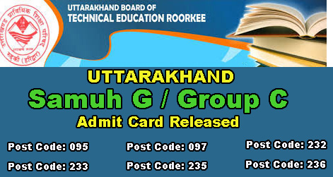 UBTER Group C Admit Card