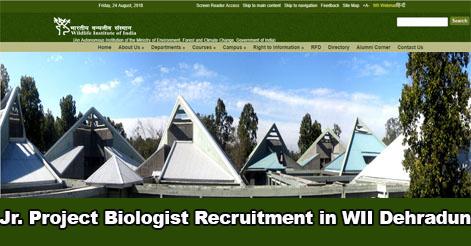 Junior Project Biologist Recruitment in WII Dehradun