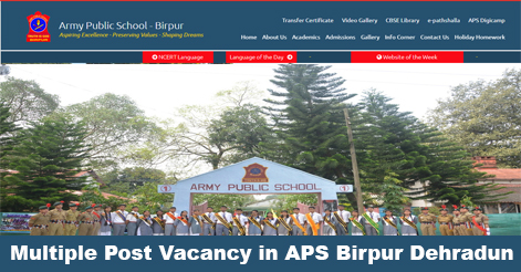 Teaching & Non-Teaching Staff Recruitment in Army Public School, Birpur Dehradun