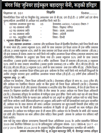 LT Recruitment in M.S Jr. High School Bahadarpur Saini, Roorkee
