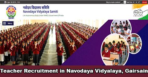 PGT & TGT Recruitment in Navodaya Vidyalaya, Gairsain
