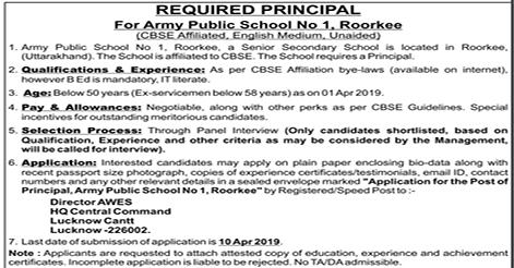 Principal Recruitment in Army Public School 1 Roorkee