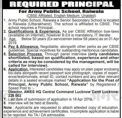 Principal Recruitment in Army Public School, Raiwala Dehradun