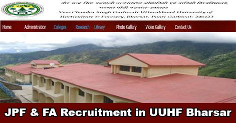 JPF & Field Assistant Recruitment in UUHF Bharsar