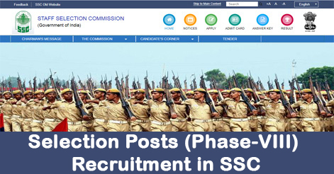 Selection Posts (Phase-VIII) Recruitment in SSC