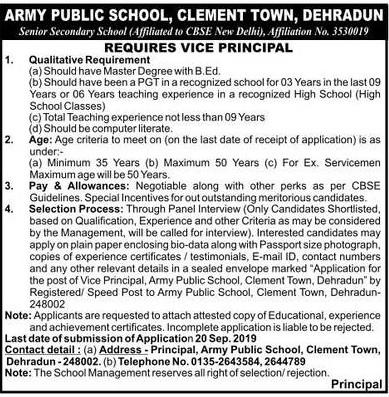 Vice-Principal Recruitment in APS, Clement Town Dehradun