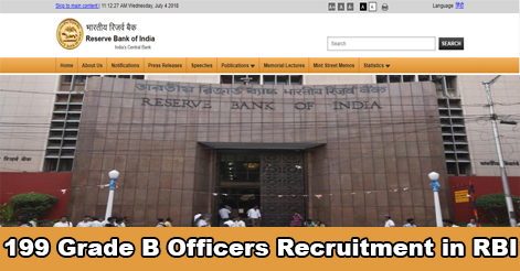 Grade-B Officers Recruitment in Reserve Bank of India (RBI)