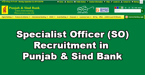 Specialist Officer Recruitment in Punjab & Sind Bank