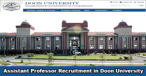 Assistant Professor Recruitment in Doon University