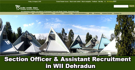 Section Officer & Assistant Recruitment in WII Dehradun