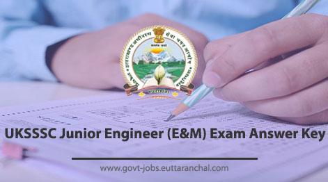 UKSSSC Junior Engineer (E&M) Exam Answer Key