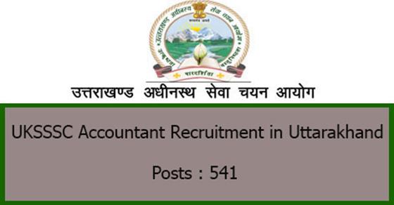 UKSSSC Accountant Recruitment in Uttarakhand