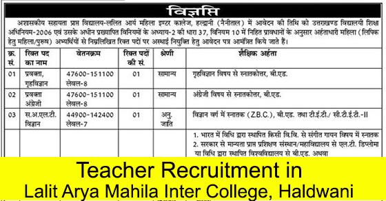 Teacher Recruitment in Lalit Arya Mahila Inter College Haldwani Nainital