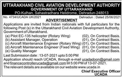Pilot, Engineer & Manager Recruitment in UCADA Advertisement