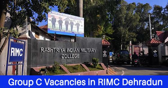 Group C Vacancies in RIMC Dehradun