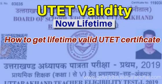UTET Certificate for Lifetime